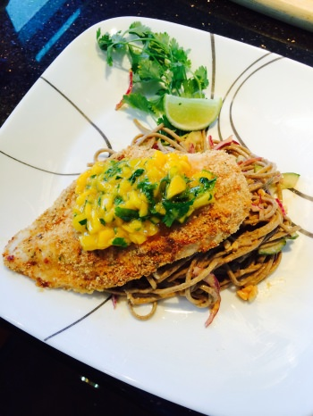 LADY MARGARET Pecan crusted chicken served on top of chilled peanut soba noodle salad