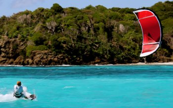 BARAKA Capt. Yann kite surfing in Grenadines