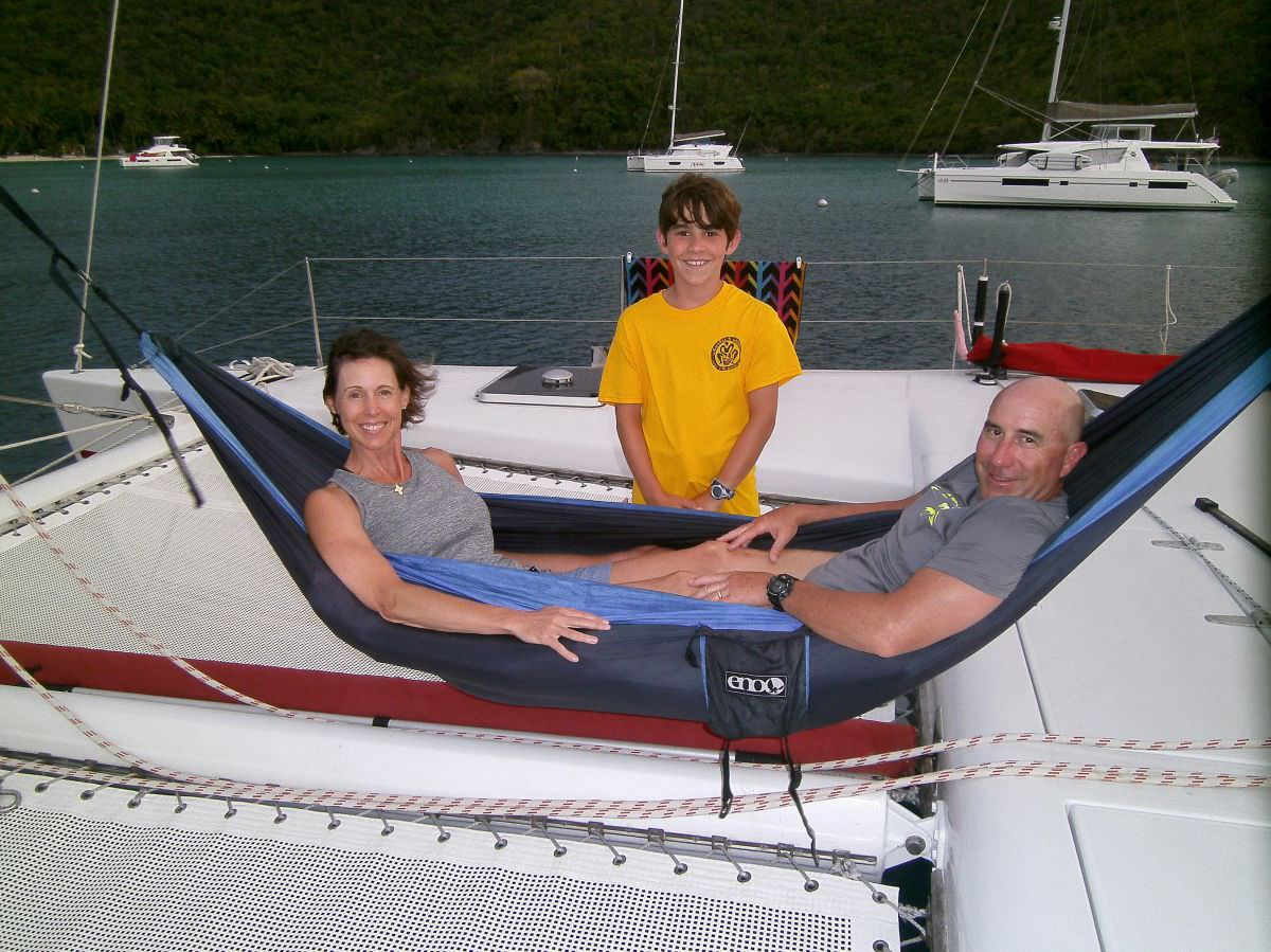 Lounging on the foredeck