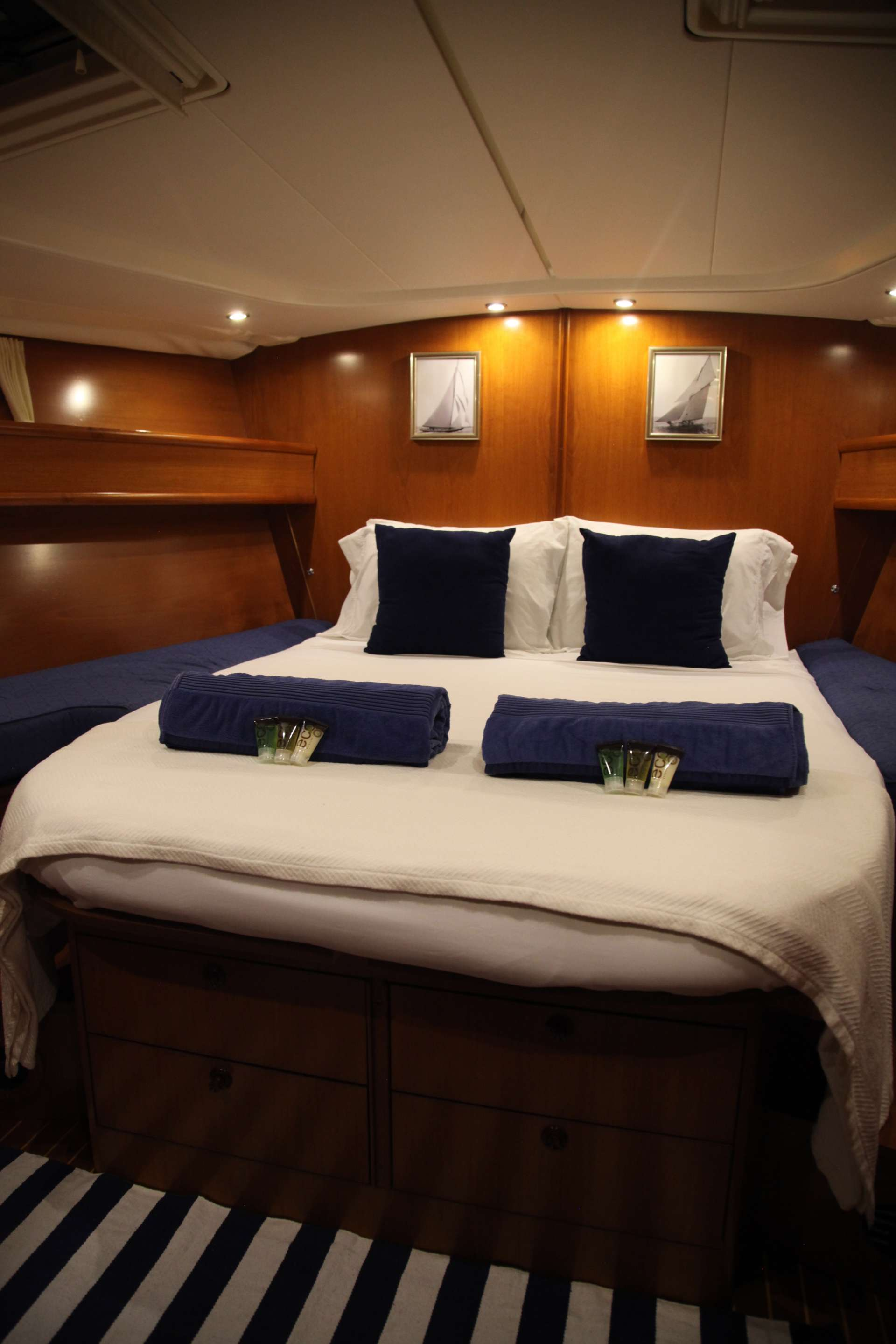 Forward guest suites set up as a single queen berth