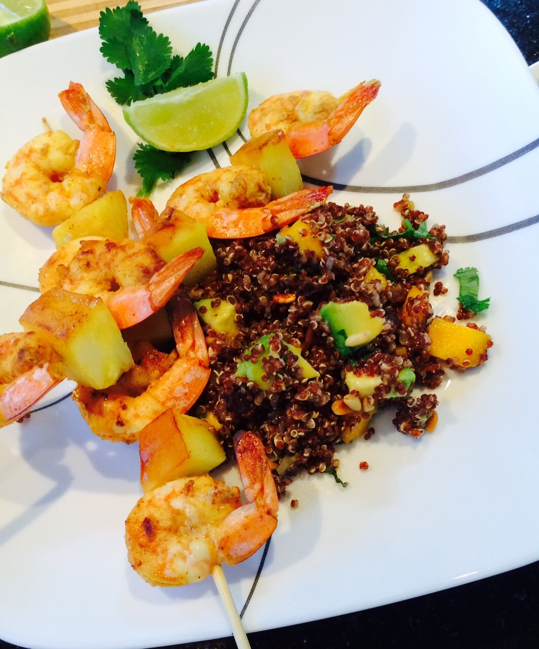 LADY MARGARET Spicy Shrimp Quinoa Salad with avocado and mango