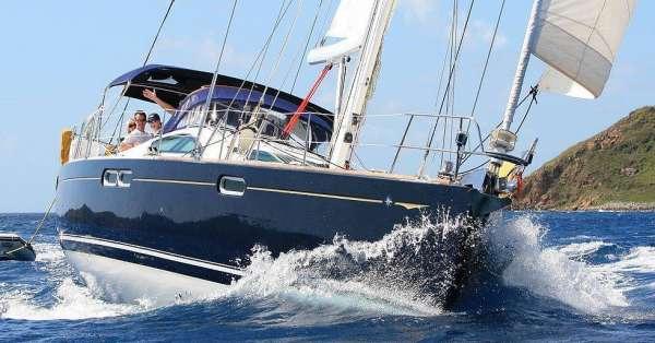 Charging along under sail