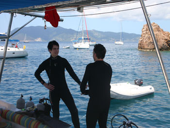 Discussing the dive