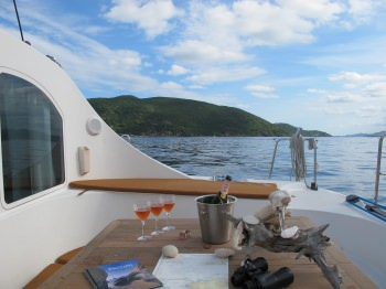 Lots of exterior space= the cockpit is a great place to lounge. There is more outdoor space on a catamaran than a much larger monohull.