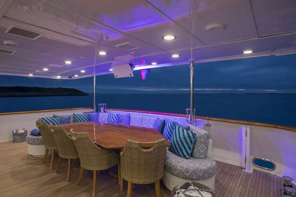 Aft Deck dining, covered
