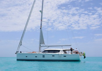 At anchor in the turquoise Caribbean waters