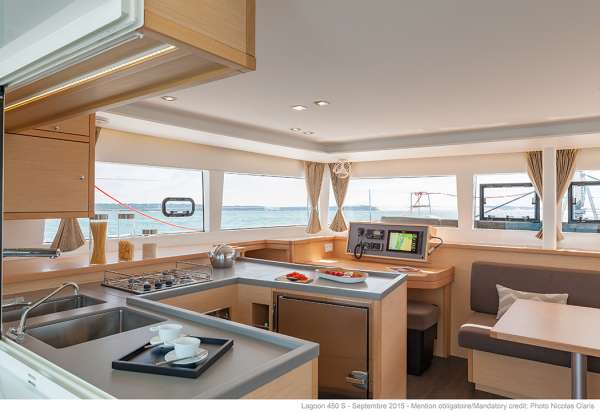 Galley open to Salon