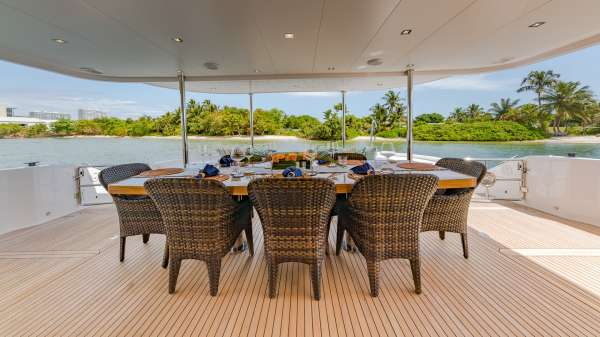Aft Deck Dining in comfort