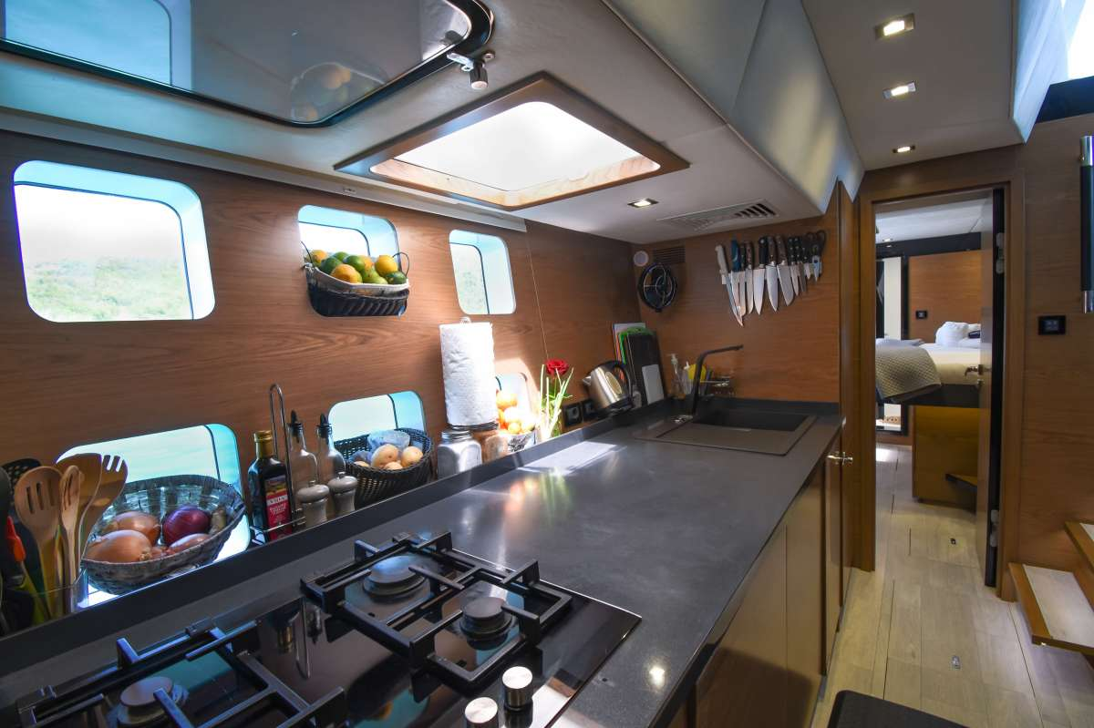 Spacious decks and top flybridge