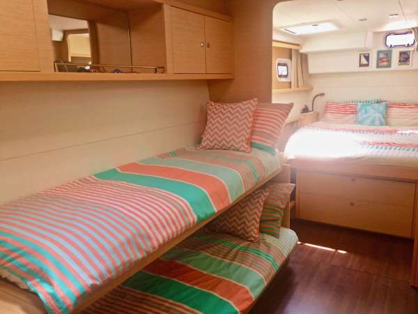 Starboard Cabin Family Layout: The double bunks can be enclosed to form a separate cabin