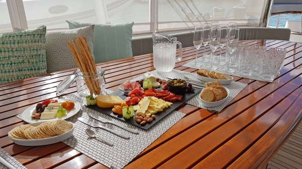 Hors d'oeuvres on Aft Deck
