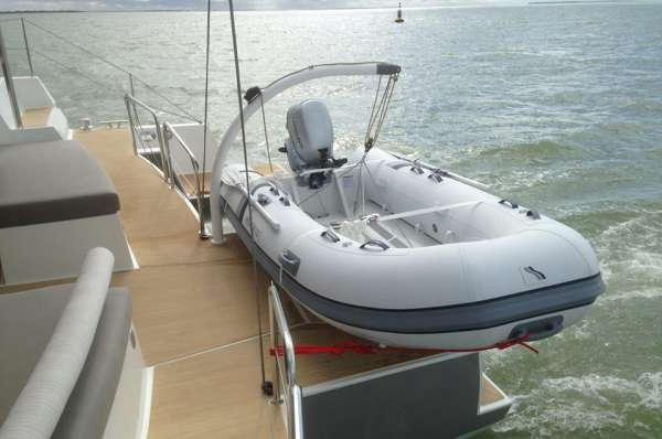 Spacious aft deck with tender