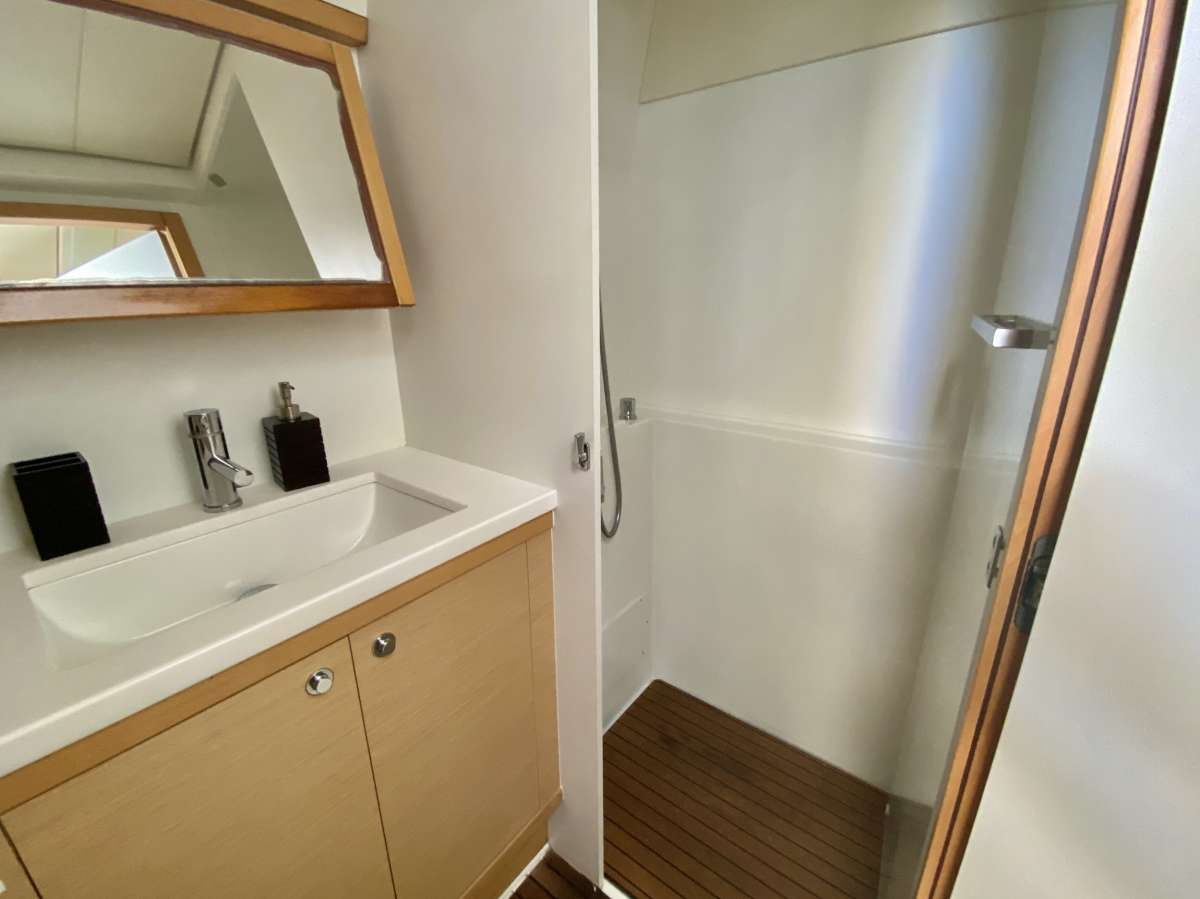 Guest bathroom with dry shower stall