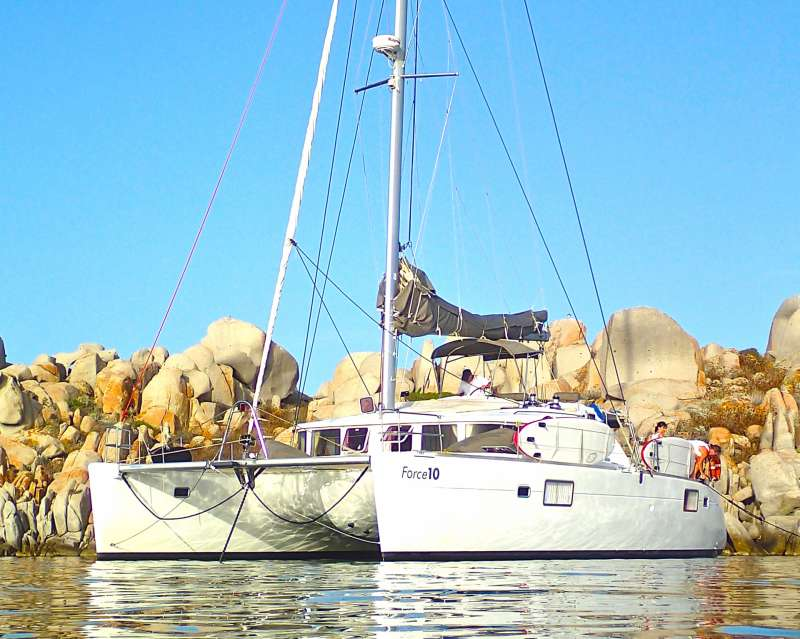 Force 10 is a marvelous 45 feet catamaran cruising French Riviera, Corsica and Sardinia