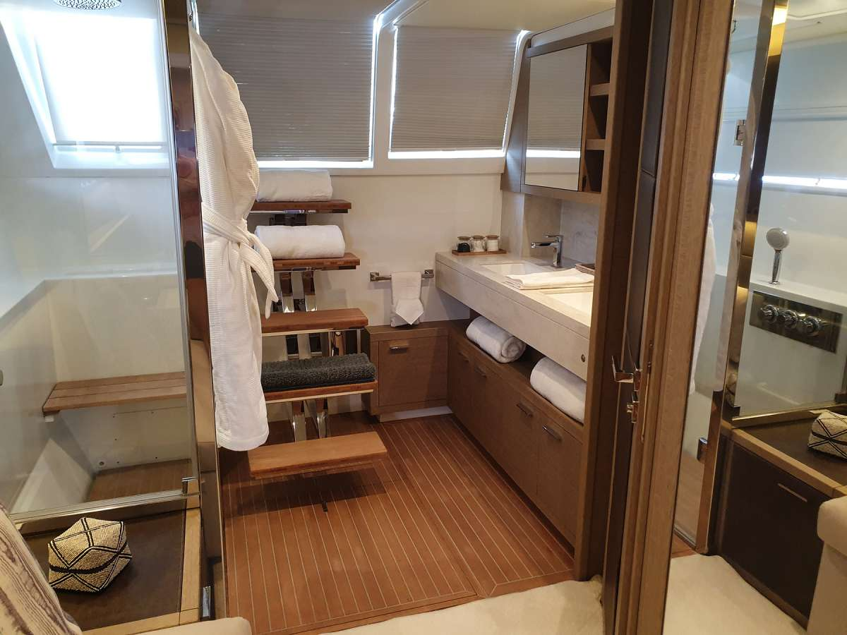 Aft Master Bathroom with access to aft deck