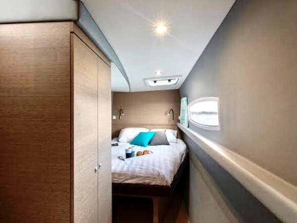 """Supreme privacy as each """"float"""" is the entire guest suite with ensuite heads - one to port and one to starboard accessed  going down a few steps from the main cabin."""