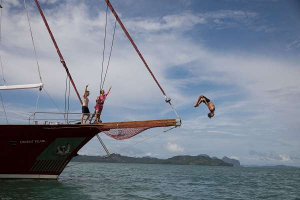 Daring backward bow flip