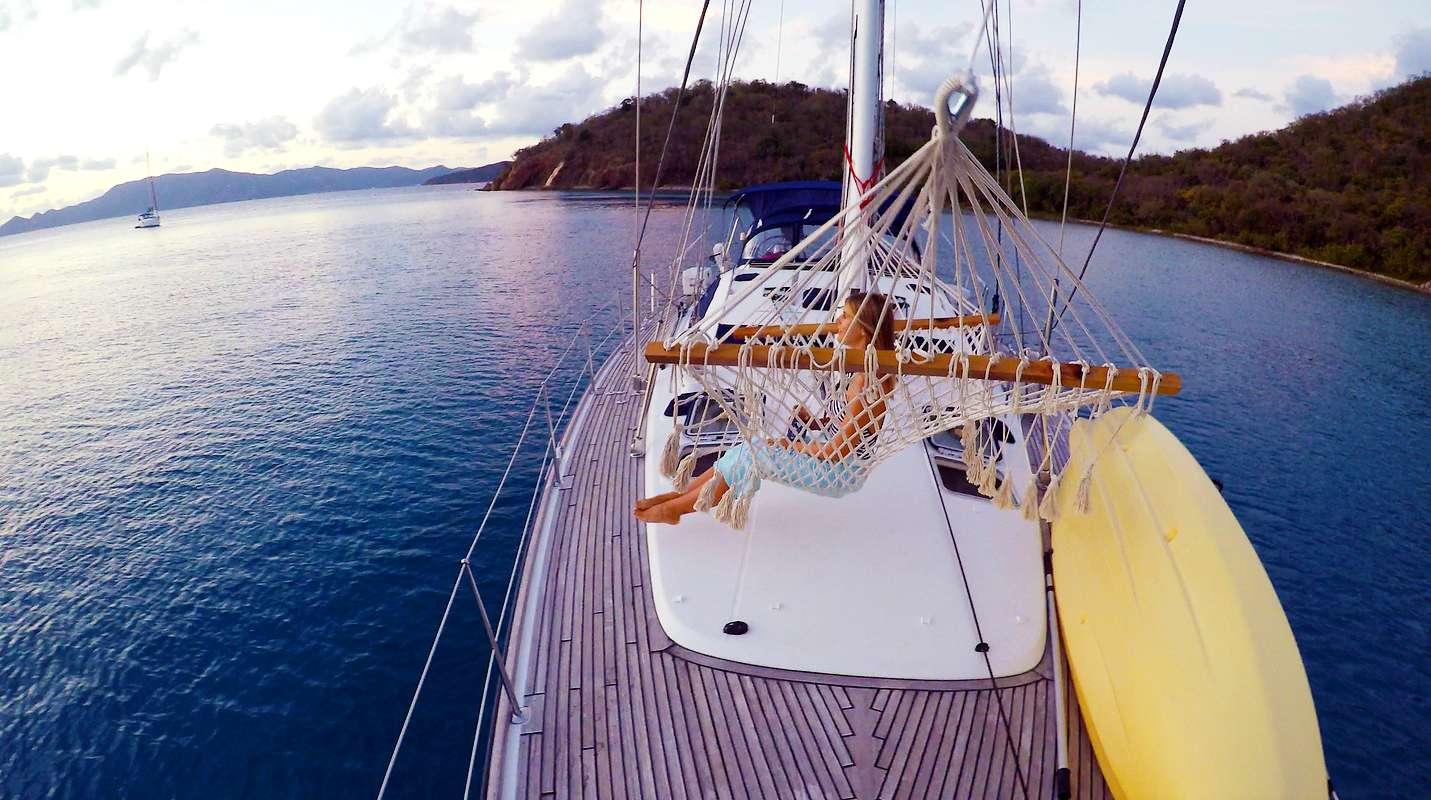 Enjoying the hammock on the bow