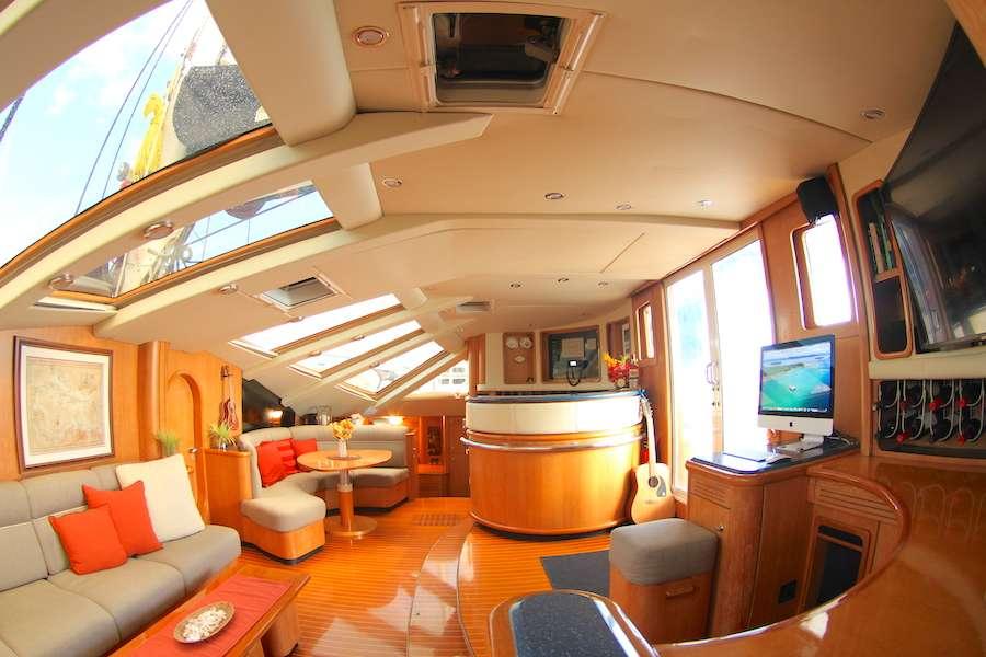Lolalita Main Salon, looking starboard.