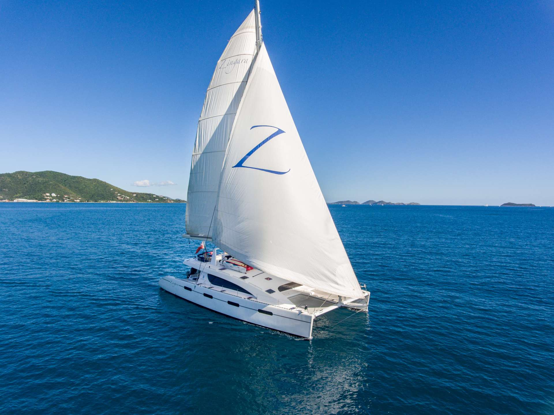 "Flying the ""Code Zero"" sail"