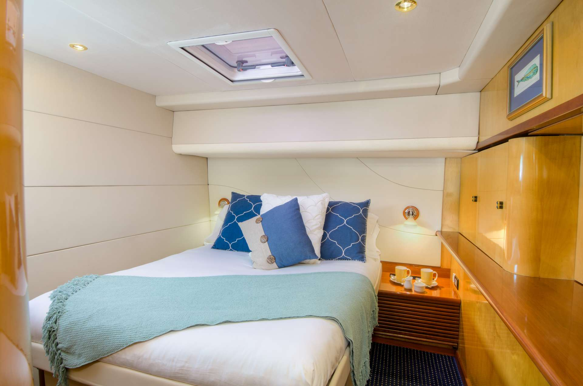 One of the aft guest queen berth suite