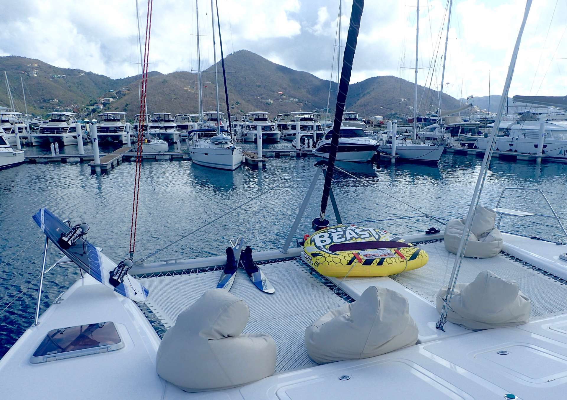 On the foredeck with beanbags