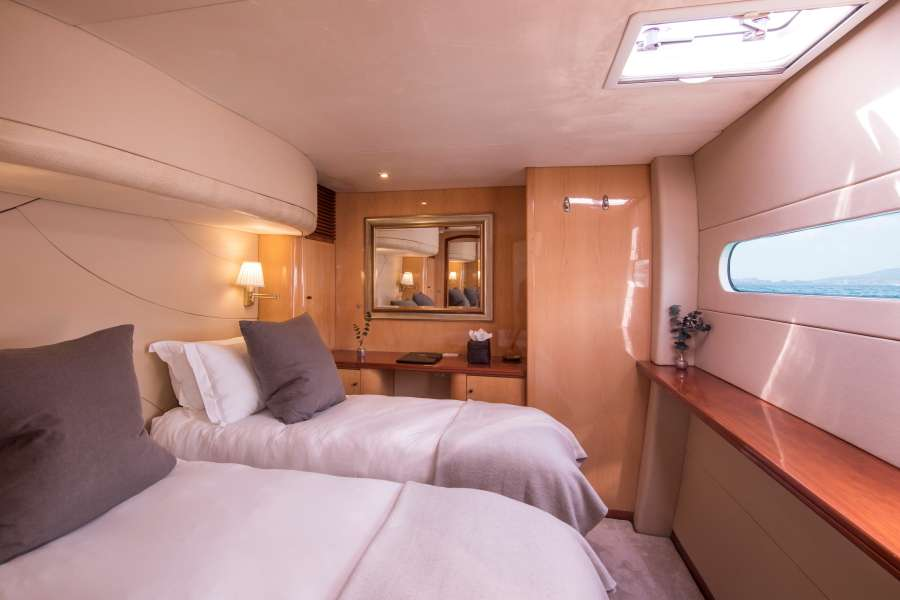 Amidships queen suite made up as twin berths