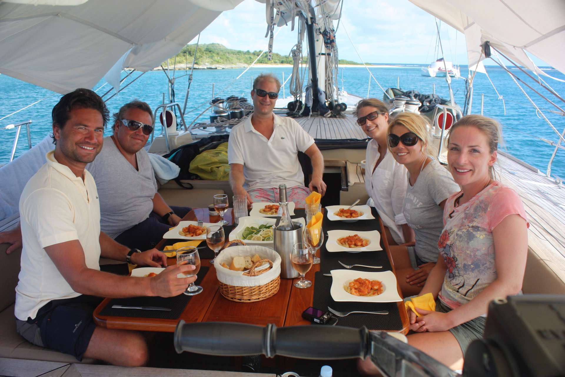 Lunch On Deck beneath the Awning