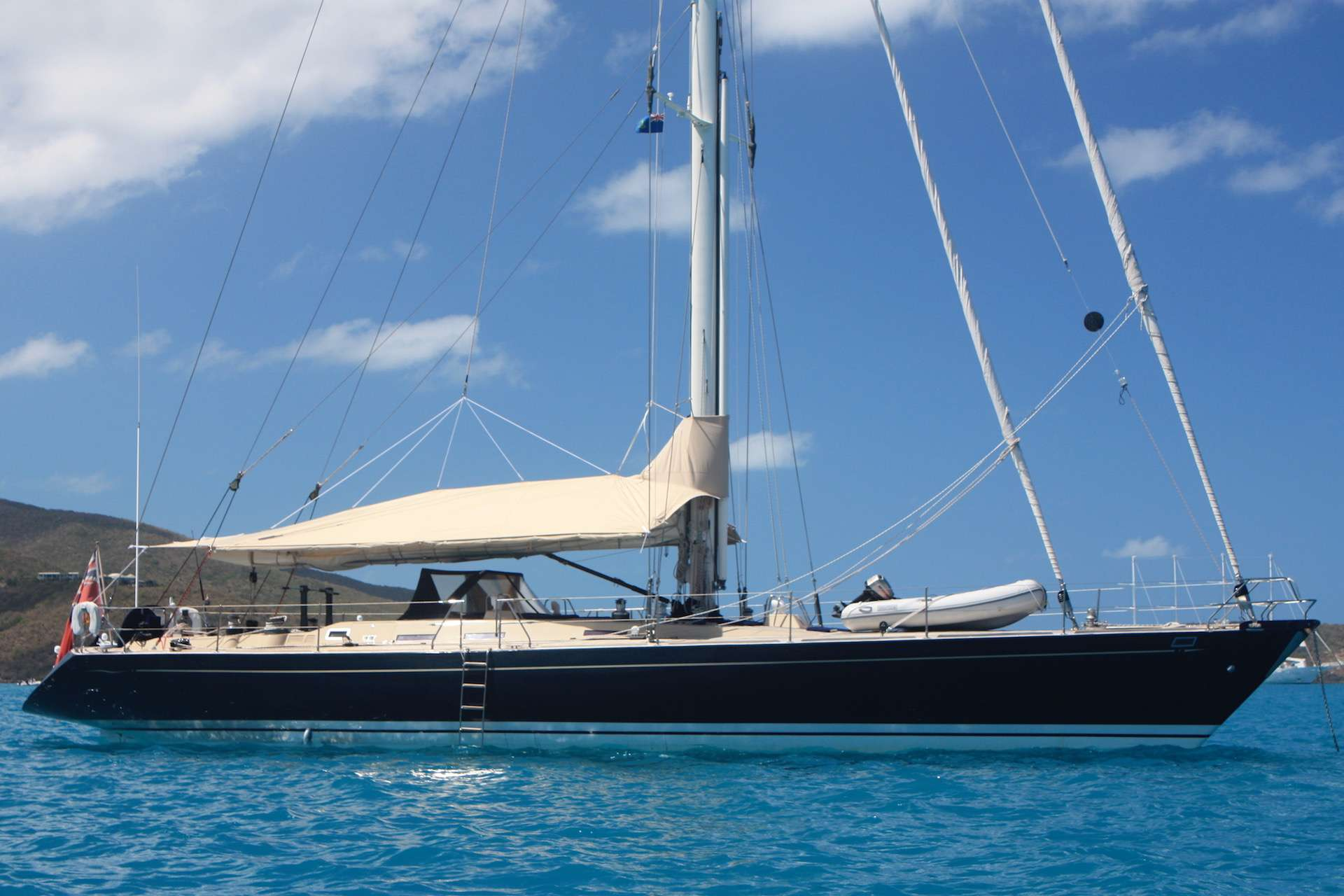 At anchor with Awning BVI