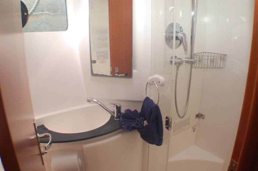 Ensuite heads feature walk-in shower stalls and electric flush toilets.