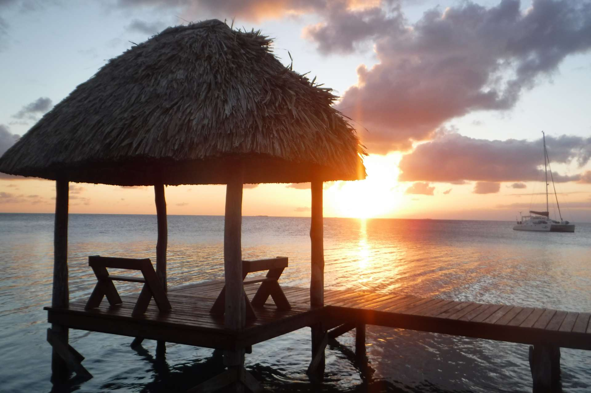 Sunset at Funk Caye