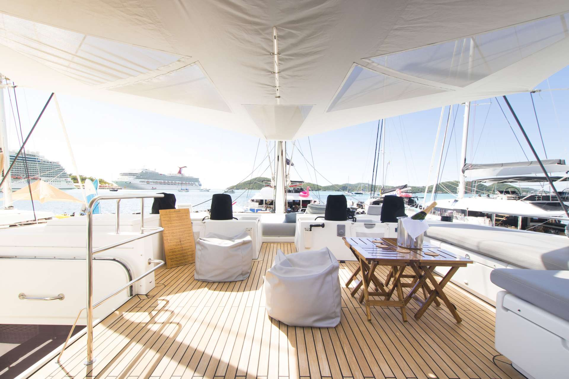 The flybridge lounging area