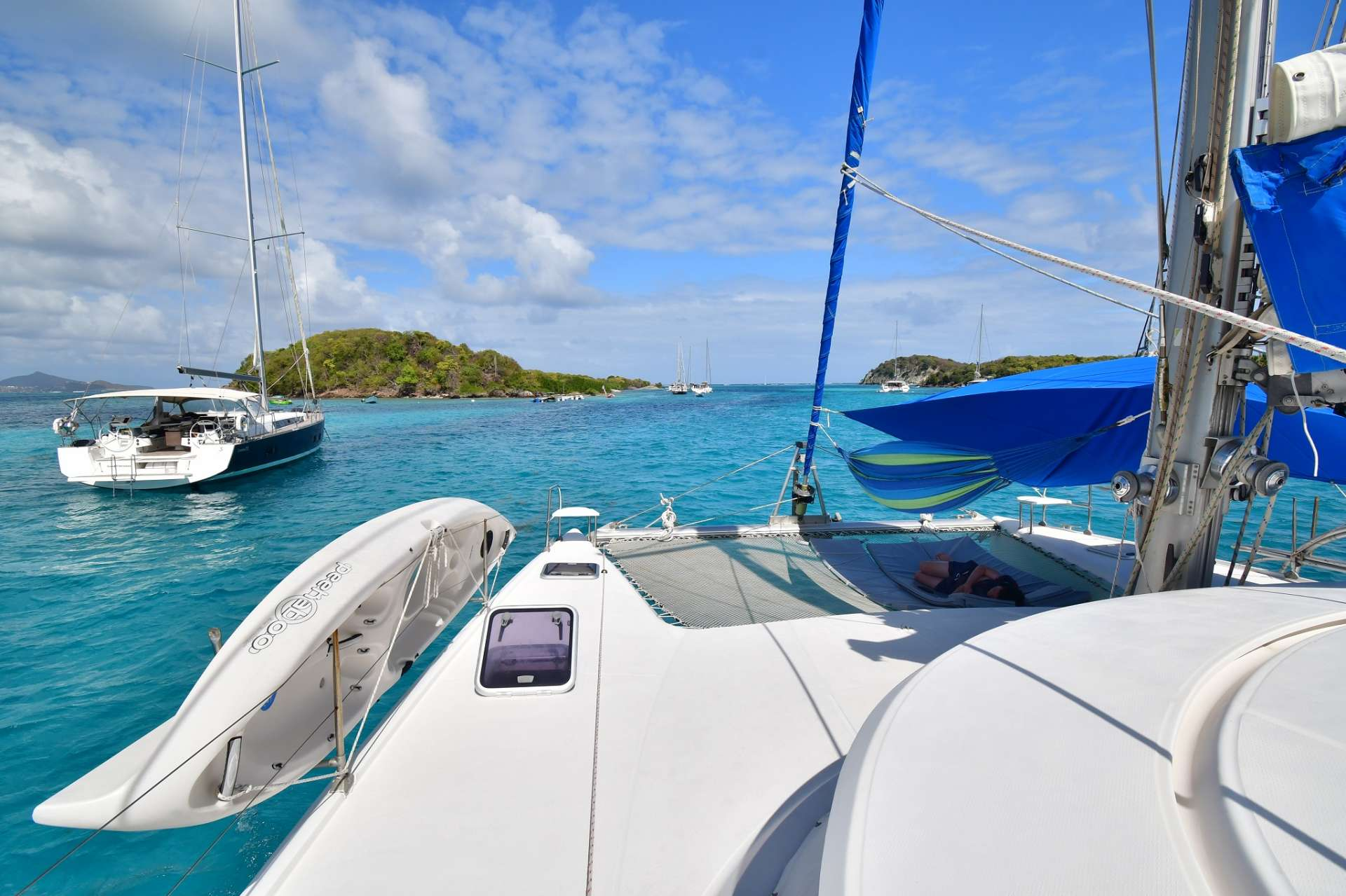 Shaded foredeck perfect for napping