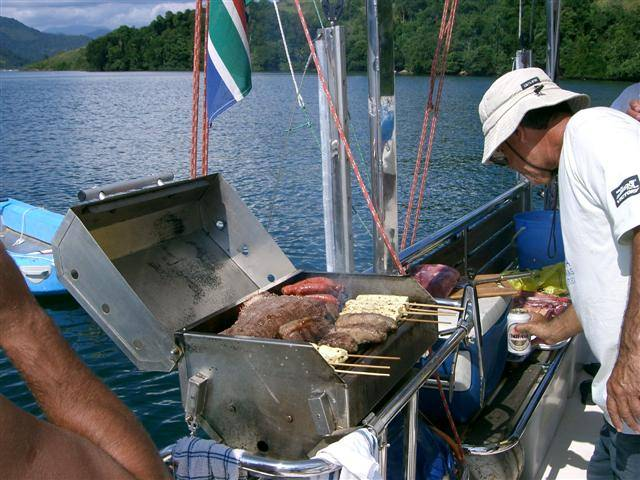 BBQing on the stern