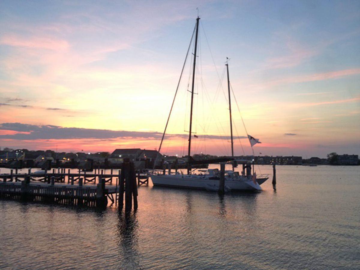 Amerigo at dock at sunset