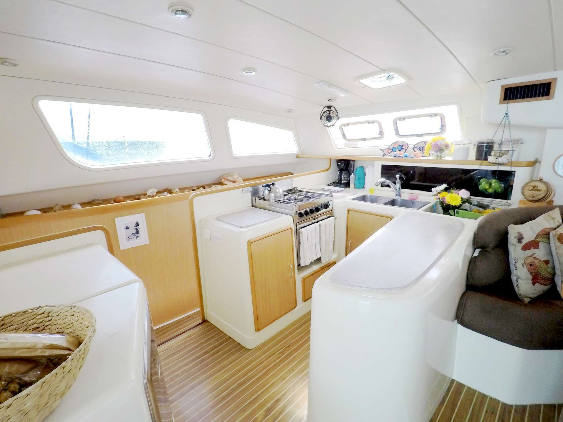 Interior galley has all the room and amenities for five-star cuisine