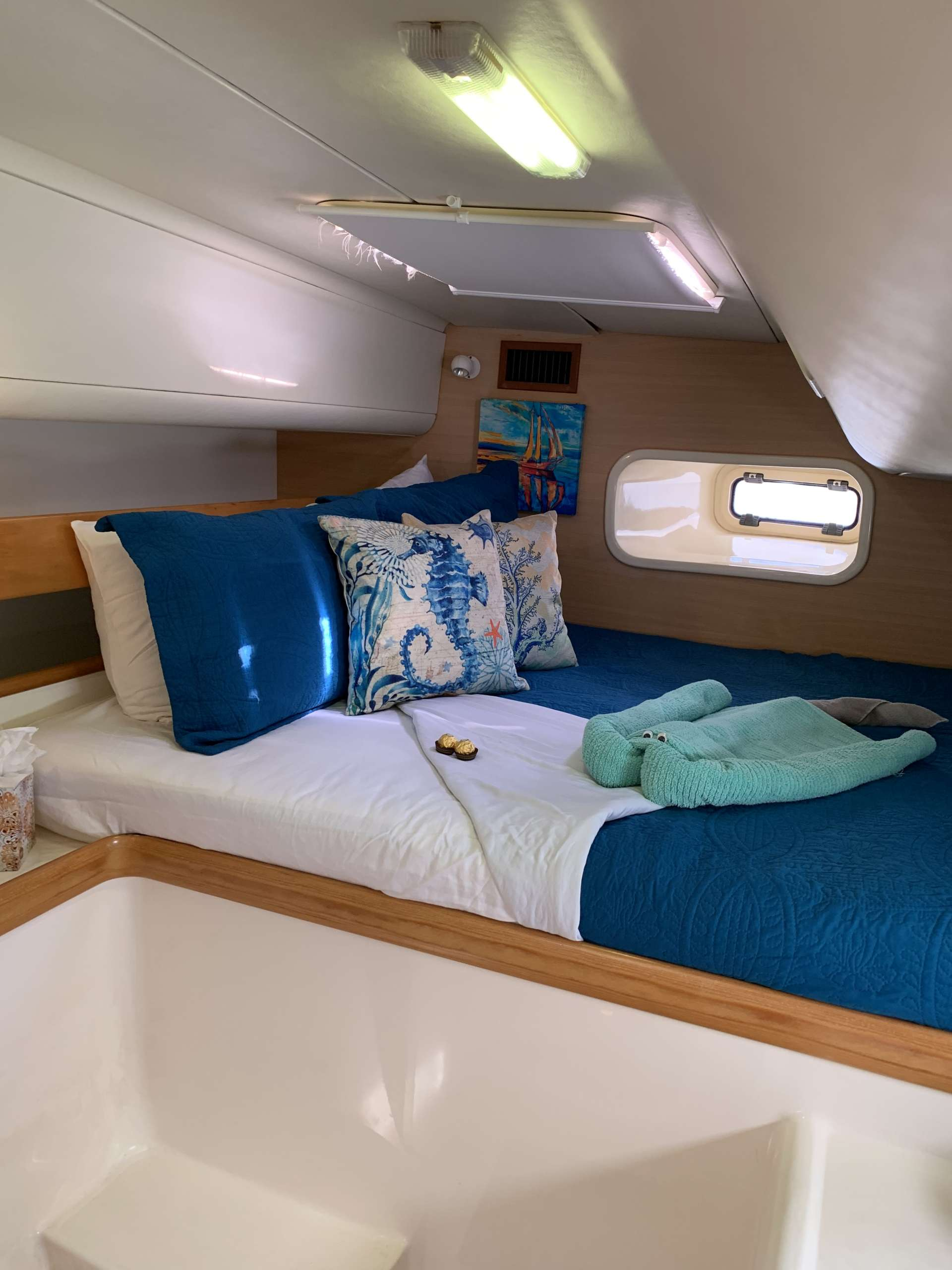 Both Aft Cabins have Queen Beds and Private Heads and Showers