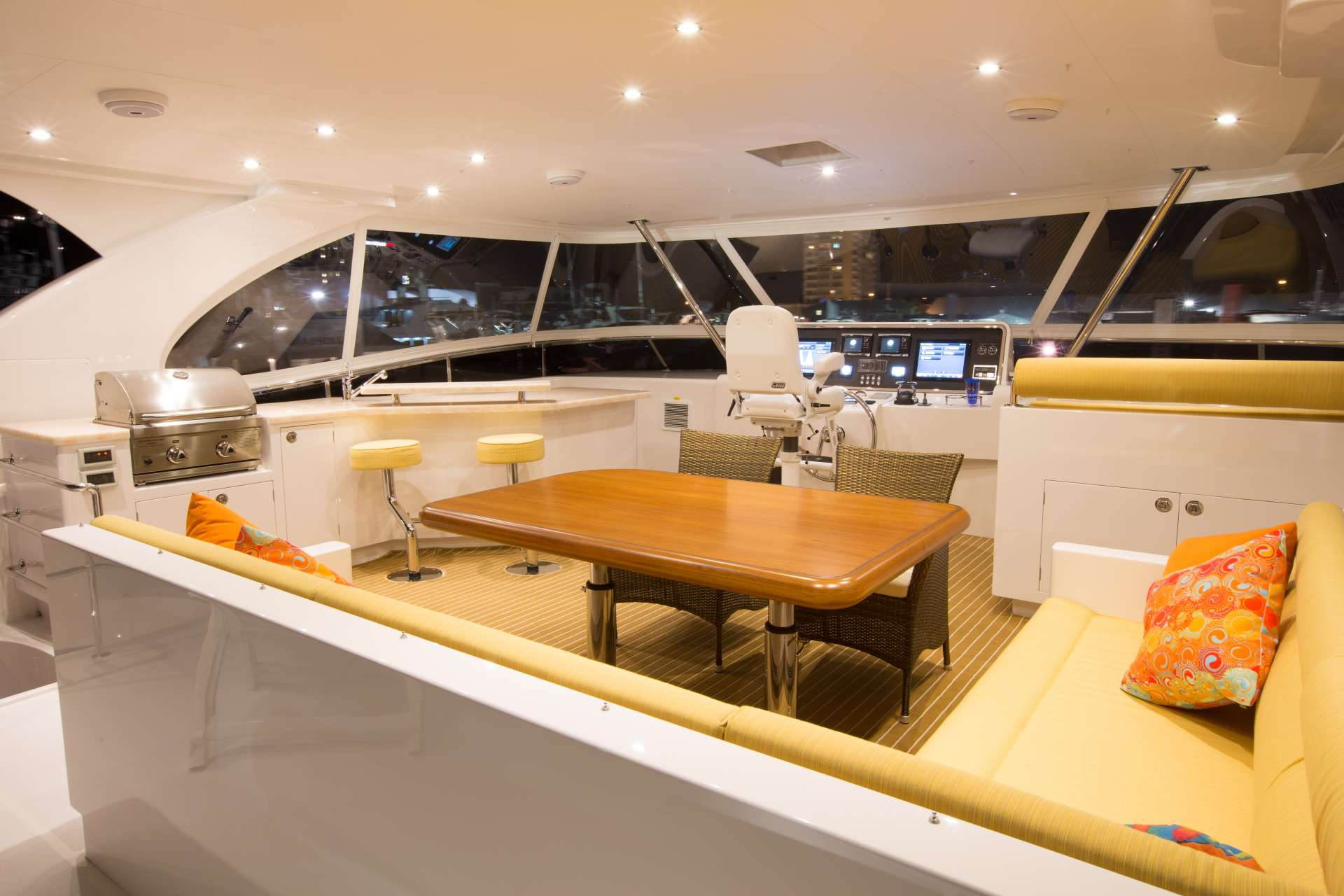 Flybridge lounging area