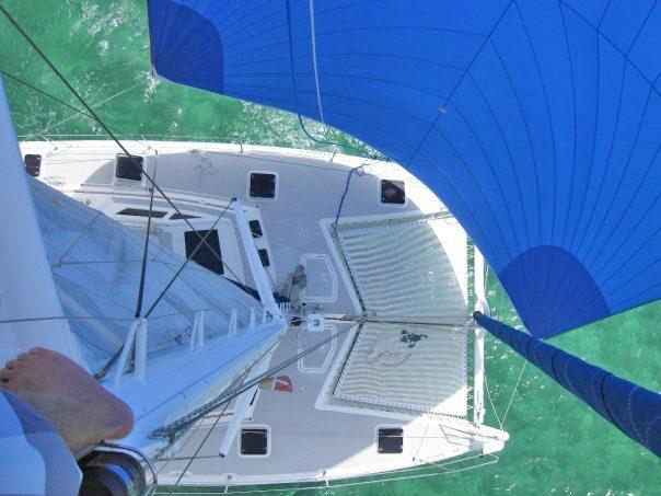 Aerial shot under full sail