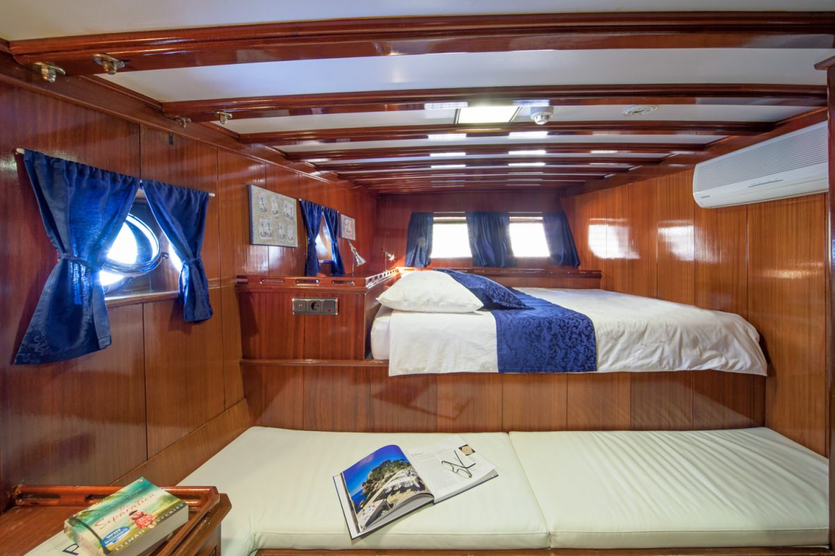 One of two mirror stern double bed cabins