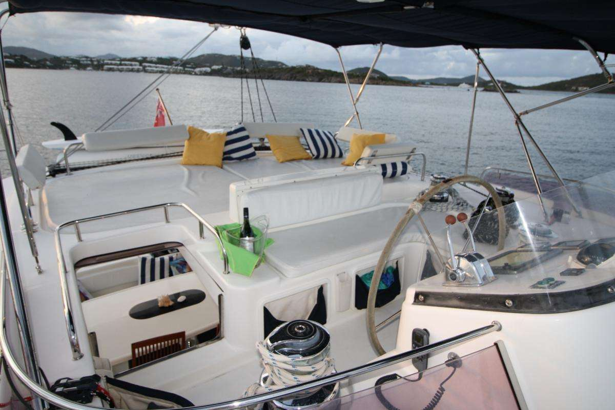 Top deck helm and lounge area