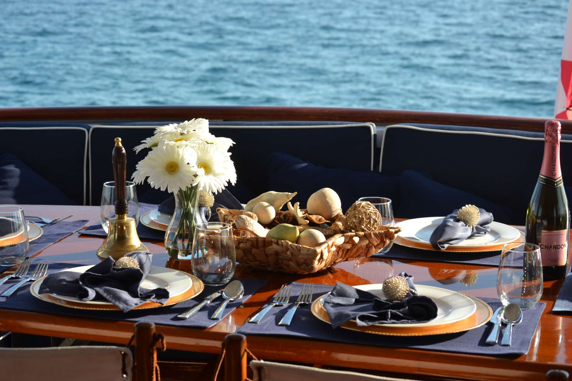 aft deck dinner table set up