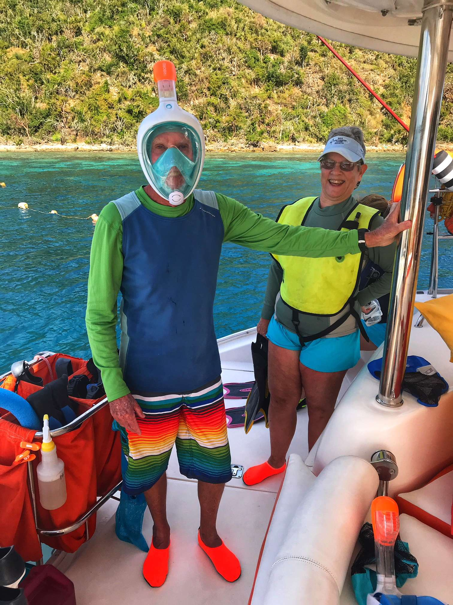We have both traditional masks/snorkels as well as the new full face snorkel masks on Starfish.