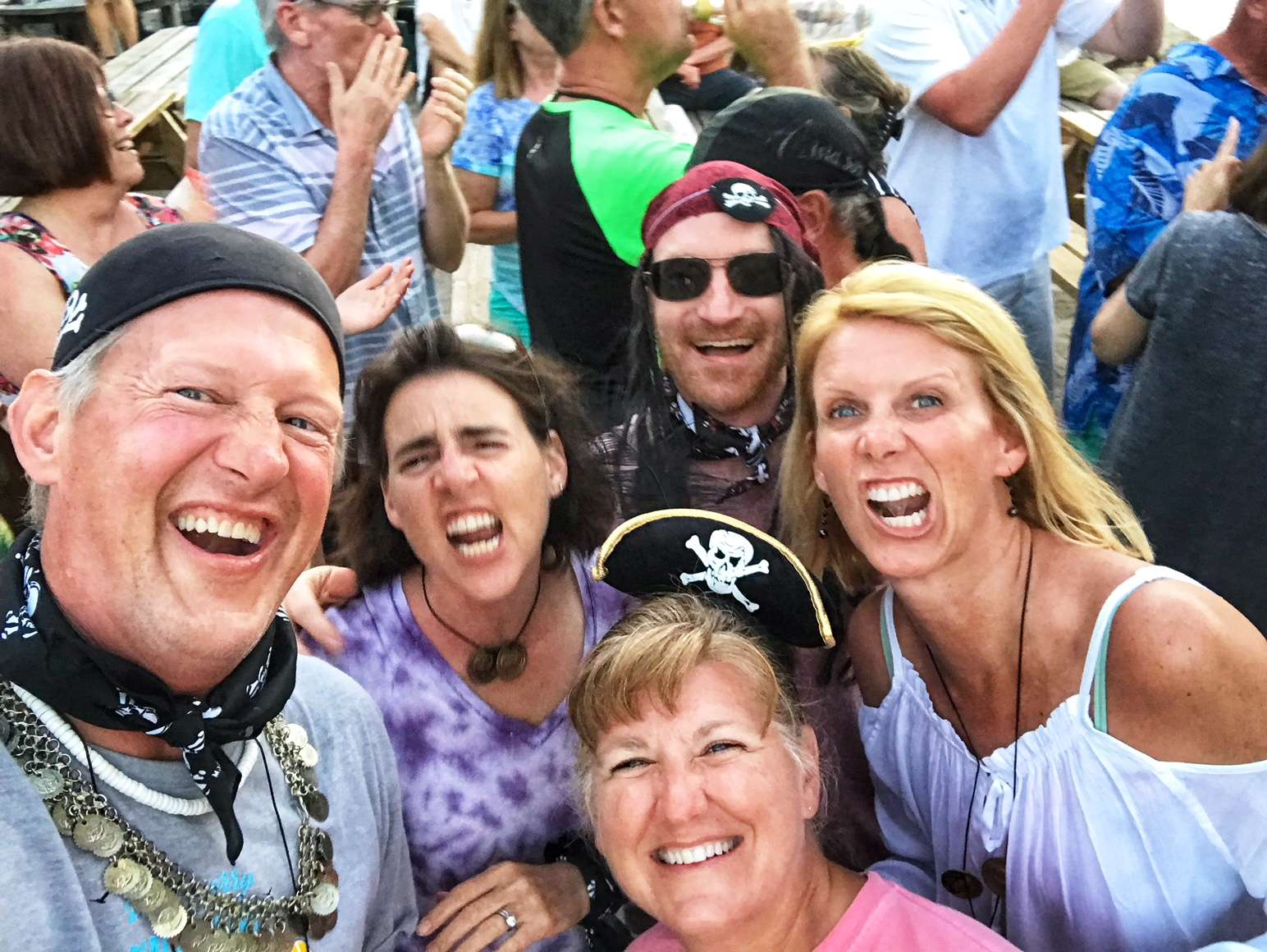 """Starfish guests enjoying the Michael Beans """"Happy Arrrr"""" show at Leverick Bay.  (And, yes, we have costumes!)"""