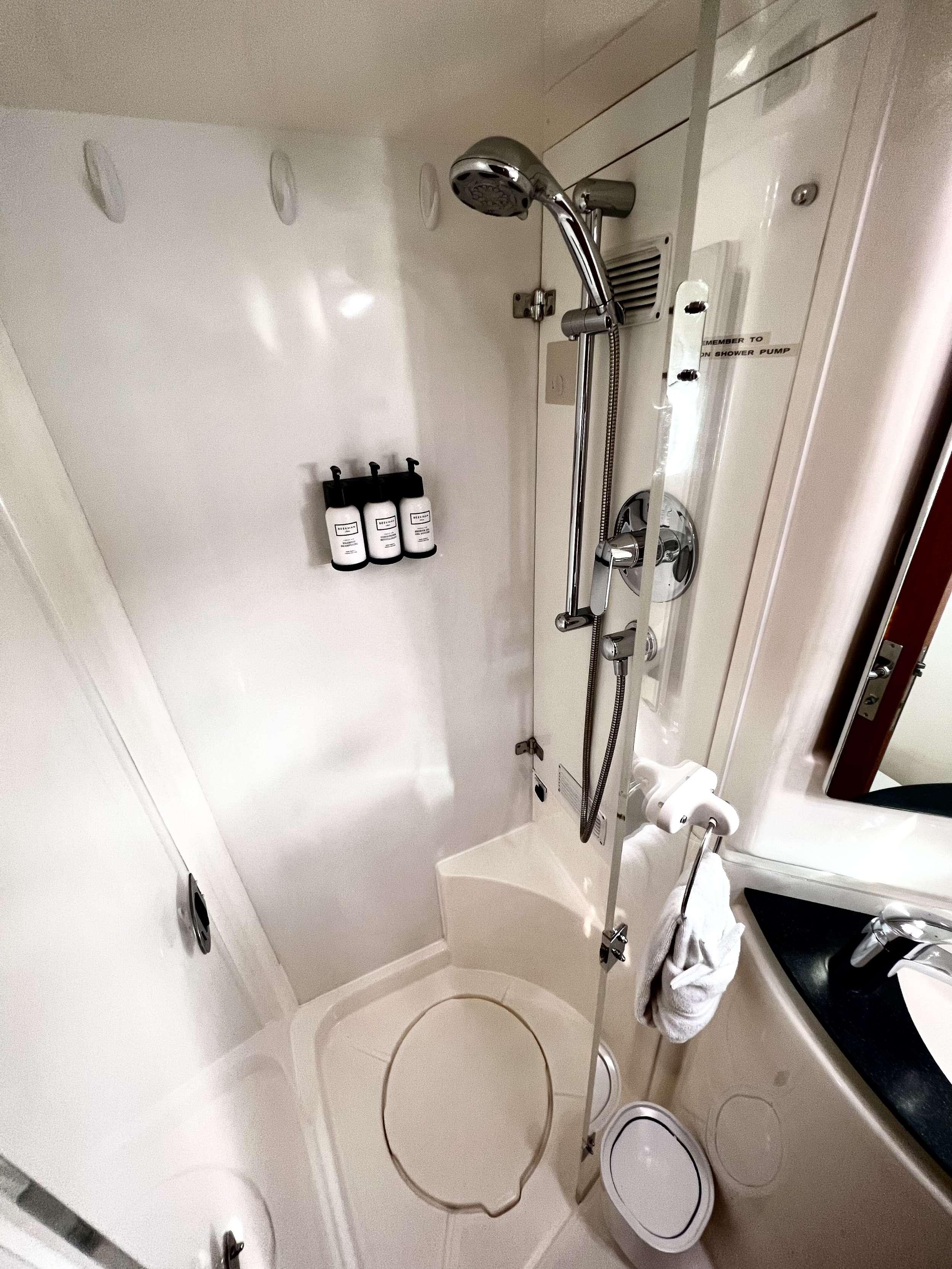 Separate shower stalls in each bathroom.