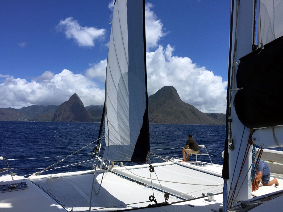 SAiling to the Great Pitons