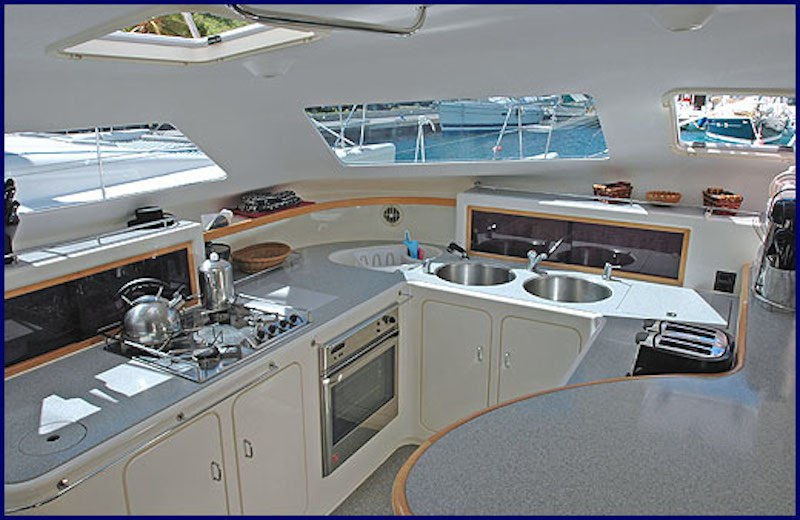 Bright, modern galley