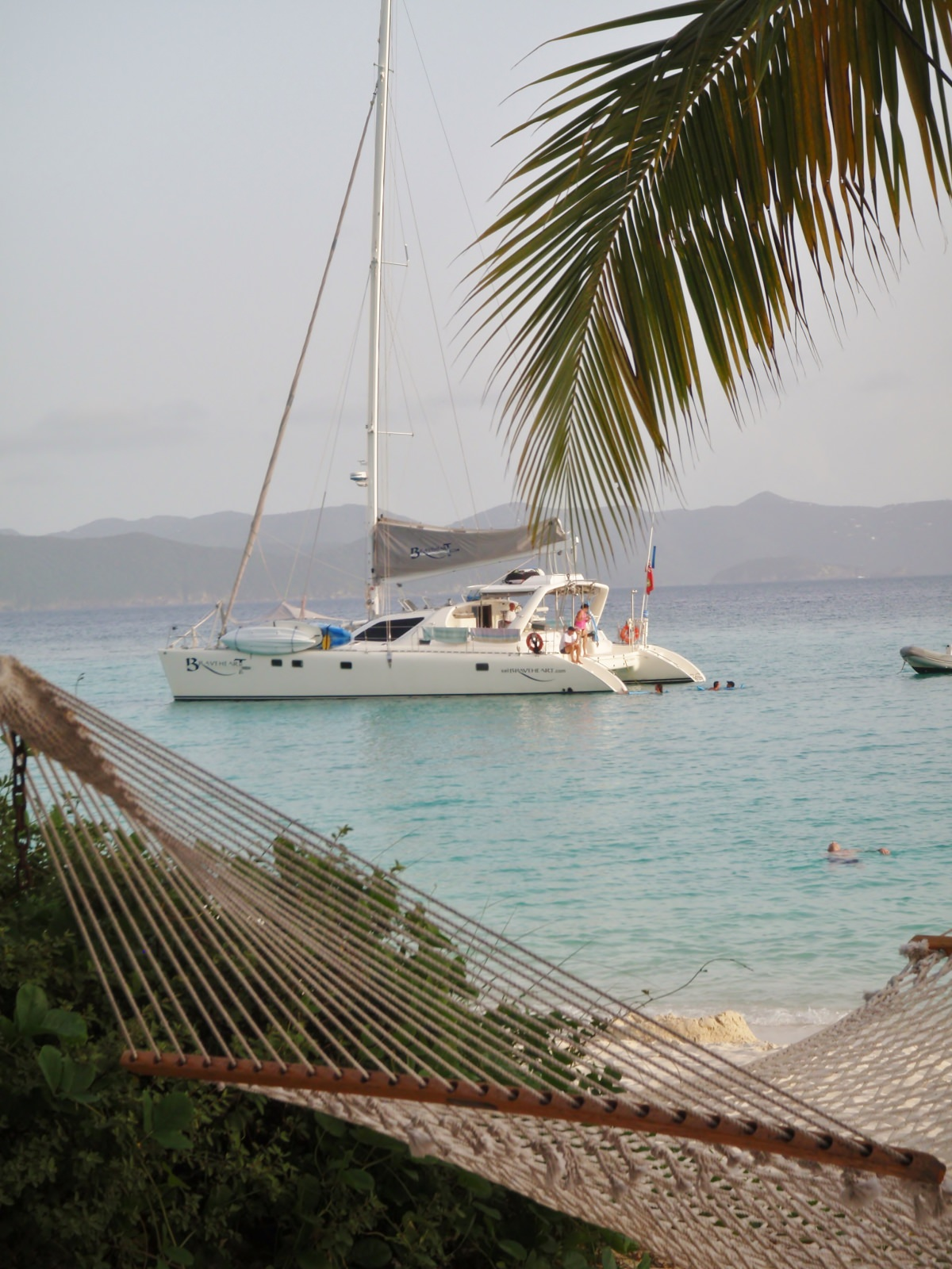 Relaxing at anchor by the beach