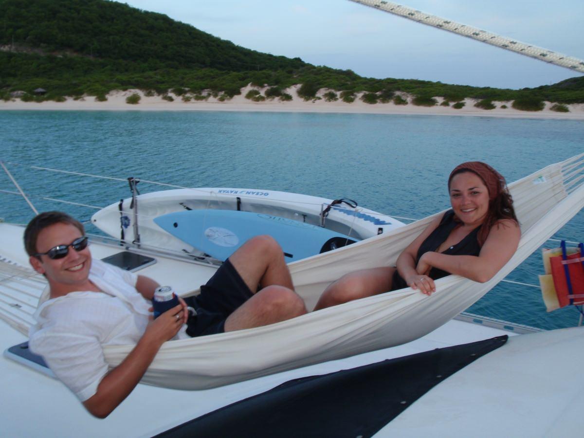 Relaxing aboard on hammocks