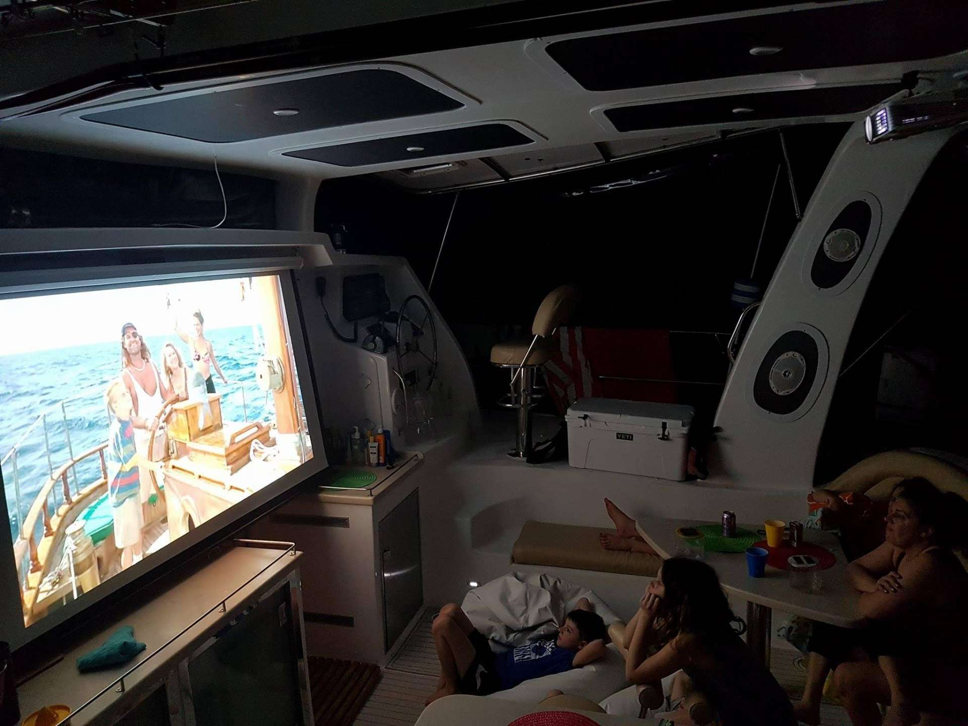 Movie time in the huge cockpit area !